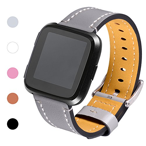 Henoda for Fitbit Versa Classic Leather Accessory Bands for Women Men, Genuine Leather Wristband Replacement Strap for Fitbit Versa Fitness Smart Watch Grey