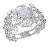 EVER-FAITH-Wedding-Silver-Tone-Flower-Vine-Art-Deco-Clear-Austrian-Crystal-Bracelet
