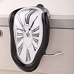Chinatera Novelty Creative Modern Melting Clock Melted Illusion Warp Clock -Sits on Shelf to Create Illusion of a Timepiece Melting Down Home/Room Decor (Black)
