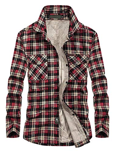 Chartou Men's Thermal Button-Down Fleece Lined Flannel Plaid Twill Work Shirt Jacket (Red, ()