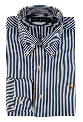 Polo Ralph Lauren Men's Classic Fit Striped Poplin Dress Shirt-BluW-14.5(37) Blue/White ()