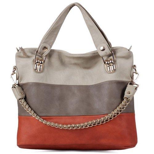 Qossi Women's Generous Spell Color Casual Style Chain PU Leather Shoulder Bag Handbags Orange/Beige