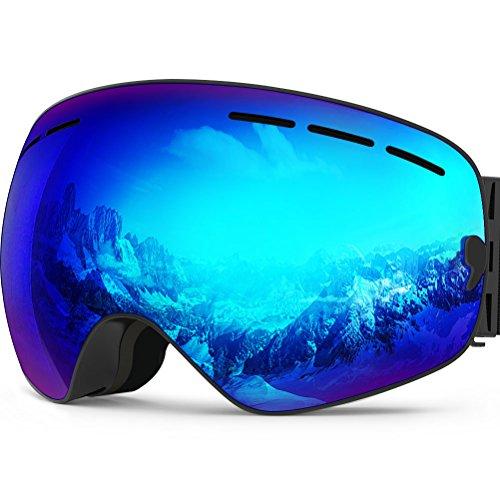 Zionor X Ski Snowboard Snow Goggles OTG Design for Men Women with Spherical Detachable Lens UV Protection Anti-Fog (18.4% Black Frame Revo Blue Lens)