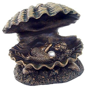 TLT 4 Inch Baby Mermaid Sleeping in Shell with Pearl Statue, Bronze (Mother Of Pearl Shell Bronze)