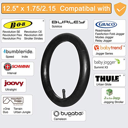 Jolik 12.5 x 1.75//2.15 Front Wheel Replacement Inner Tubes Compatible with Bob Revolution Stroller SE, Flex, Pro, Strides, Stroller Baby Trend Expedition Series Joovy Zoom 360