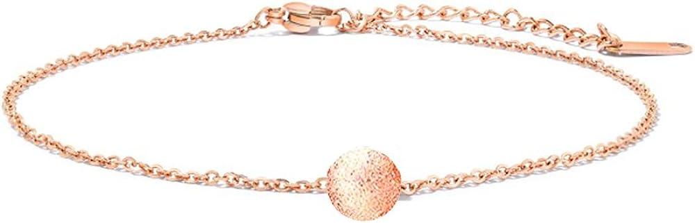 findout F1854 Ensemble de 3 Bracelets de Cheville pour Femme Plaqu/é Or Rose en Titane et Acier zircone cubique en Forme d/étoile Cercle Clochette Papillon