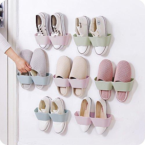 Cuteshower Set of 4pcs Wall Mounted Shoes Rack for Door Shoe Hangers Organizer Hanging Shoe Storage Racks