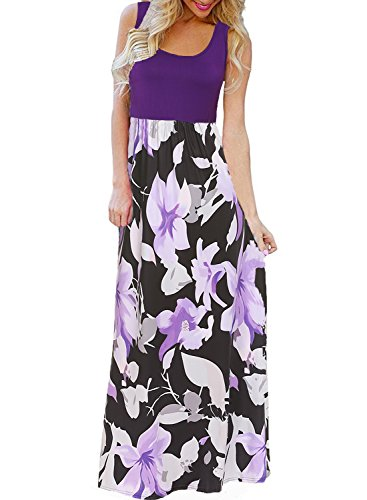 BLUETIME Women's Summer Boho Sleeveless Floral Print Tank Long Maxi Dress (Purple, S) -