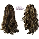 """PRETTYSHOP 16"""" OR 20"""" Hair Piece Clip On Pony Tail Extension 2 IN 1 Curled Wavy Heat-Resisting brown mix #6H25 H12-2"""