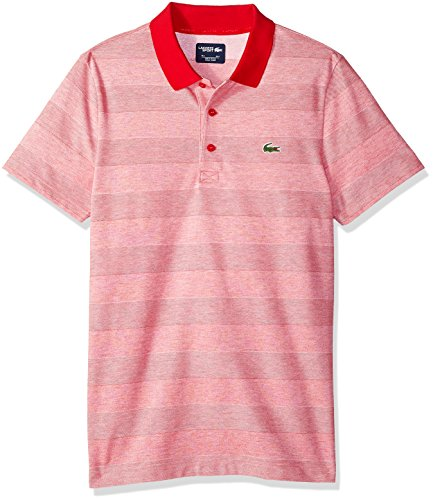 Lacoste Men's Short Sleeve Jersey Caviar Textured Print with Jacquard Collar Polo, DH3388, Red/White, XX-Large -