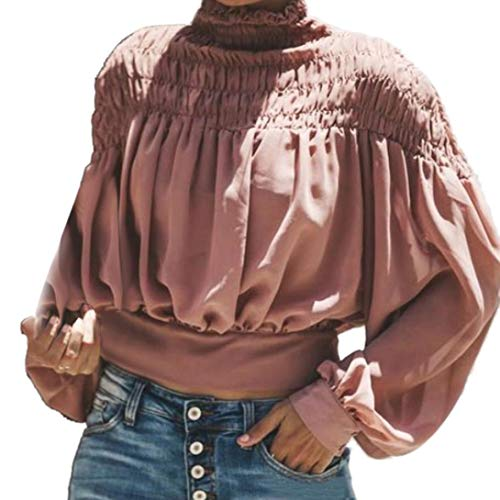 Clearance!Youngh 2018 New Womens Blouses Turtleneck solid Ruched Loose Lantern Long Sleeve Fashion Blouse T Shirt - Turtleneck Gorgeous