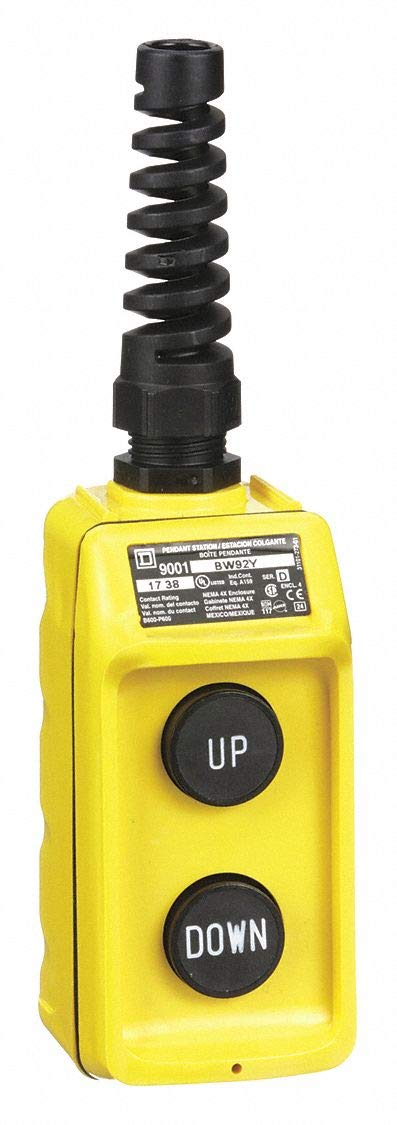 Square D 2-Button Up/Down Pendant Push Button Station, 2NO, NEMA Rating 1, 3, 3R, 4, 4X, Yellow