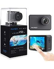 AKASO Caméra Sport Etanche 4K Wifi 20MP Action Cam 30fps Ultra HD EIS Écran LCD Tactile Soutien Micro Grand Angle 170 Degré 30M Sous Marine 2 Batteries 1050mAh Télécommande Kit d'Accessoires – Gris