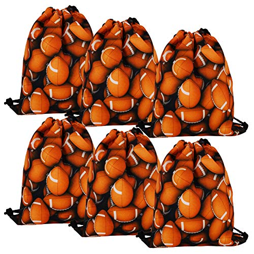Drawstring Backpack Bags, 6 Pack Bulk Promotional Sport Gym Sack Cinch Bags Drawstring Sports Equipment Bag (Football)