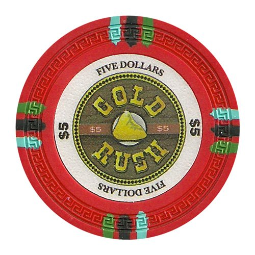 Golden Nugget Casino Chips (Claysmith Gaming $5 Clay Composite 13.5 Gram Gold Rush Poker Chips - Sleeve of 25)