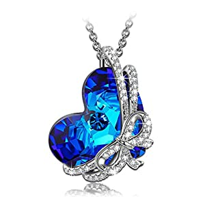 QIANSE Heart of Ocean 925 Sterling Silver Necklace Made with Swarovski Crystals Fine Jewelry [Gift Packing]- Once in a lifetime gift!