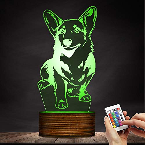 Novelty Lamp, Night Light 3D LED Lamp Optical Illusion Corgi Dog, 16 Color Remote Control Changes, with USB Charging Connector, Children's Birthday Gift Bedroom Decoration,Ambient Light by LIX-XYD (Image #6)