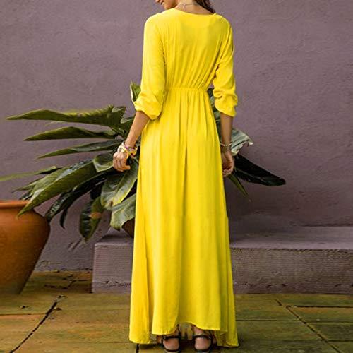Women Print Long Dress Summer Beach Dress V Neck High Waist Dress Floral Printed Maxi Dress by Lowprofile Yellow by Lowprofile Dress (Image #3)