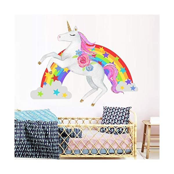 Bamsod Unicorn Wall Stickers Rainbow Kids Wall Decal Art Girls Bedroom Nursery Home Decor 11 inch x 13 inch 6