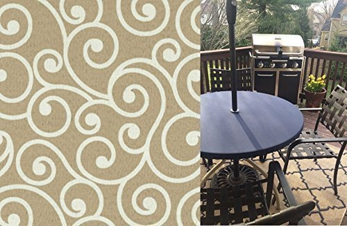 (Custom Fitted Outdoor Water and Stain Resistant All Weather Tablecloth for Standard Tables up to 6 ft. or Round 30