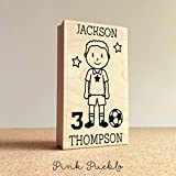Personalized Soccer Rubber Stamp, Custom Boy Soccer Rubber Stamp - Choose Hairstyle and Accessories