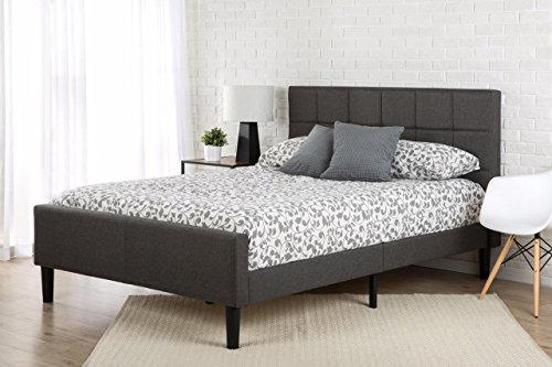 Buy Discount Zinus Upholstered Square Stitched Platform Bed with Footboard, Queen