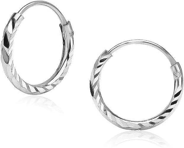 925 Sterling Silver Diamond Cut Circle Hoops Earrings