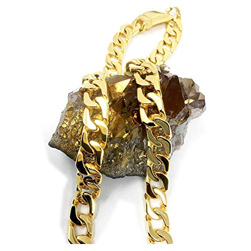 Cadena de eslabones cubanos de oro de 24 quilates, collar para hombre, 14 mm, corte de diamante, pesado, con cierre…