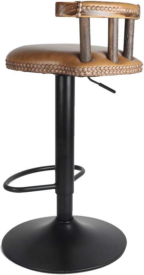 Sgabello da bar industriale regolabile in altezza di 60-80 cm design alto sedia da bar girevole comoda seduta in legno e metallo con schienale e poggiapiedi UNHO 2