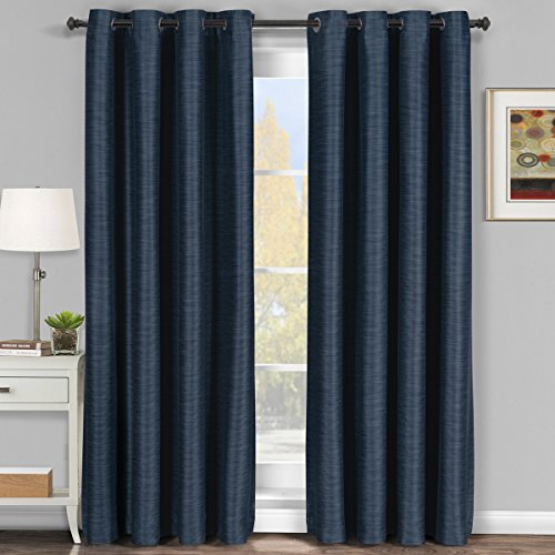 Pair of Two Top Grommet Blackout Thermal Insulated Curtain Panels, Elegant and Contemporary Galleria Tonal Stripes Blackout Panels, Navy, Set of Two 54″ by 84″ Panels (108″ by 84″ Pair)