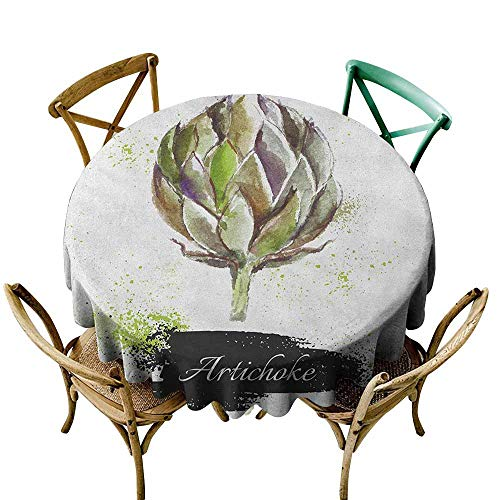 Resistant Table Cover Artichoke Hand Drawn Delicious Fresh Vegetable Healthy Menu Good Eats Super Food Fern Green and Black for Events Party Restaurant Dining Table Cover 40 INCH -