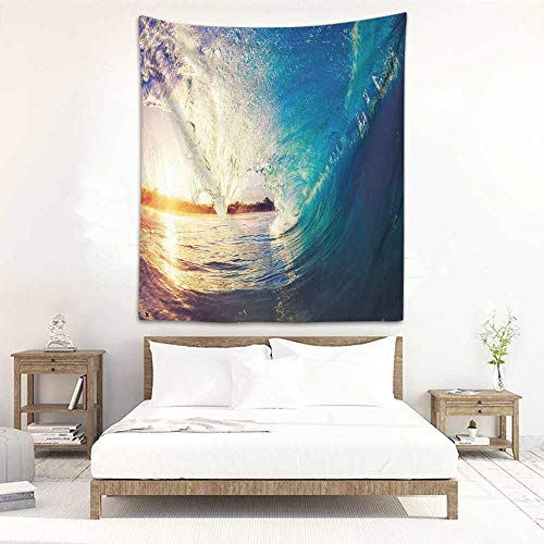 Godves Big Tapestry Ocean Sunrise on Waves Surfer Perspective Surreal Coastal Charm Sports Lifestyle Scene Wall Tapestry for Bedroom 51
