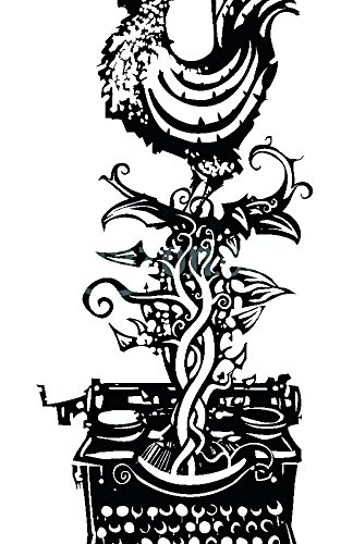 The Shutterstock Collection Woodcut Rooster crowing emerging from a typewriter for waking news Poster Print, 11' x 17'