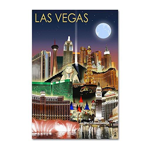 Trademark Fine Art Los Vegas by Lantern Press, 12x19-Inch Canvas Wall Art