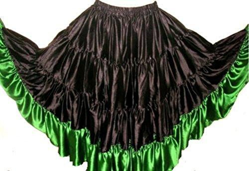 Luxurious Bordered Satin Flamenco Danza Española 25 yardas Tribal Gypsy Skirt (Black Green)