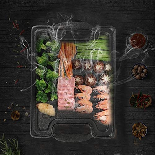 Zerone Plancha/Poêle Grill, Plaque de Cuisson Anti-Adhésive en Fonte Ustensiles de Cuisson Double Face Plaque à Grillades Carré 36 * 25 * 2cm