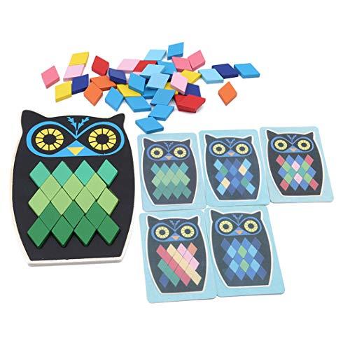 LZIYAN Puzzle Cartoon Animal Fish Owl Shape Wooden Puzzle Early Learning Intelligence Educational Jigsaw Toys For Children,Owl
