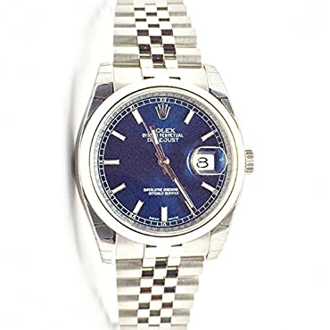 Rolex Datejust 36 Blue Dial Steel Mens Watch 116200