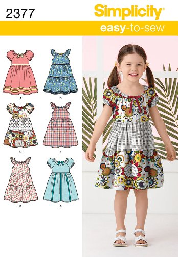 - Simplicity Learn To Sew Patterned Girl's Dress Sewing Pattern Template, Sizes 3-8