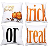 BLEUM CADE Halloween Theme Pillow Covers Halloween Treat or Trick Throw Pillow Case Daily Decorations Sofa Throw Pillow Case Cushion Covers Zippered Pillowcase