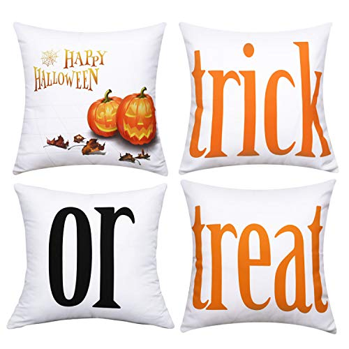 BLEUM CADE Halloween Theme Pillow Covers Halloween Treat or Trick Throw Pillow Case Daily Decorations Sofa Throw Pillow Case Cushion Covers Zippered Pillowcase(White, 18 x 18 Inch)]()