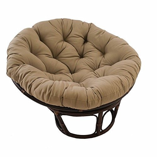 - International Caravan 3312-TW-TF-IC Furniture Piece 42-Inch Rattan Papasan Chair with Solid Twill Cushion