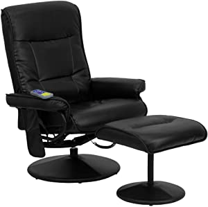 Flash Furniture Massaging Multi-Position Recliner with Side Pocket and Ottoman in Black LeatherSoft
