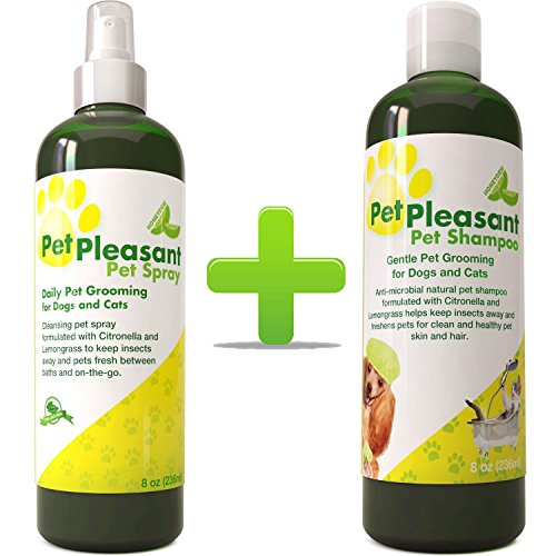 Natural Pet Supplies Grooming Kit for Cats + Dogs - Pet Care Shampoo for Dry Flaky Itchy Skin - Pet Spray with Citronella + Lemongrass - Flea Tick Prevention + Bug Repellant - Deodorizing Odor Remover