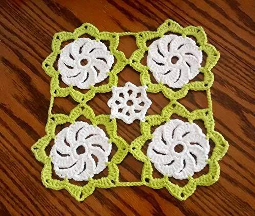 Amazoncom Flower Crochet Table Mat Green Floral Crochet Table Mat