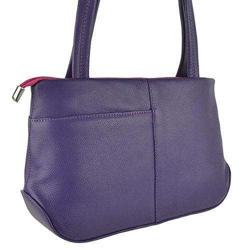 Mala Leather Borsa A Spalla Donna Viola Nero Medium