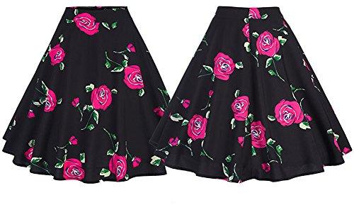 Una Línea Plisada Rodilla Mujeres Falda Morado Talle de Estampado Longitud rosa Floral Alto de YwZfq