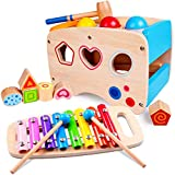 Wooden Hammering Pounding Toys Best Gift for 1 2 3 4 Years Old Boy Girl Baby Toddler Kids Toys Montessori Toys Educational Toys Developmental Toy Xylophone Shape Sorter