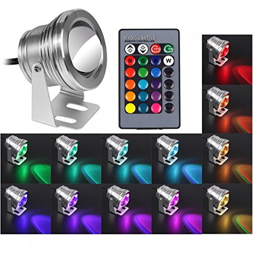 LeaningTech 10W RGB Marine Boat Yacht Fishing Lamp Underwater Light RGB LED Floodlight with Remote Control Fish Boat Lamp