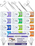 Sutures Thread with Needle + Training Instruments - Suture Practice, Medical Surgical Practice Suturing Kit, Hemostat First Aid Field Emergency Learning Set (Mixed 12PK 2-0, 3-0, 4-0, 5-0 + 6 Tools)